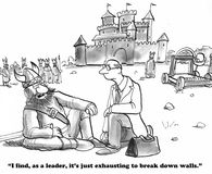 Break Down Walls. Business cartoon about breaking down walls royalty free illustration