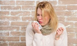 Break fever remedies. High temperature concept. Woman feels badly ill. How to bring fever down. Fever symptoms and stock image