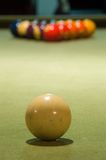 Break (Focus Close). A set of billiard balls ready to be broken. Focus is on white ball stock photos