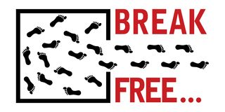 Break free concept, footprints leads out Royalty Free Stock Photo