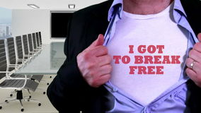 Break free concept shirt. Shot containing of Man unveils textual slogan T-shirt under business suit in an office stock video footage