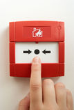 Break-glass fire alarm. Close up shot of Break-glass fire alarm stock image