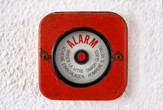 Break Glass - Old Fire Alarm. Old fire Alarm. In case of a fire break the glass and set the alarm Stock Image