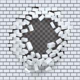 Break hole in brick wall destruction template transparent background vector illustration. Break hole brick wall destruction template transparent background stock illustration