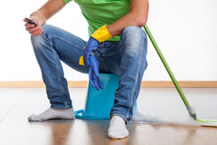Break at housework Royalty Free Stock Photography