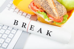 Break and lunch box. Of workplace stock images