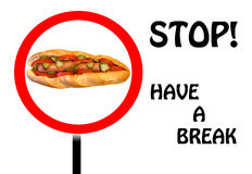 Break for a meal. The picture shows a large sandwich homemade, symbolizing the stop sign and encourages to take a break and have a snack stock illustration