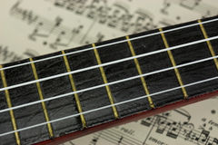 A Break From The Music. Close up of a ukulele rested on sheet music Royalty Free Stock Photos