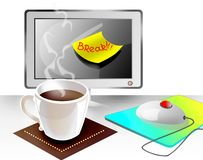 Break at office with cap of coffee Royalty Free Stock Image