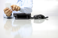 Break in office from work, phone off Royalty Free Stock Photo