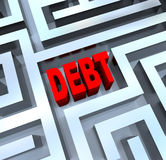 Break Out of the Debt Maze. A maze containing the word Debt, symbolizing the difficulty of modern finances and budgets Stock Images