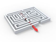 Break Out Of Maze Showing Puzzle Exit Royalty Free Stock Photos