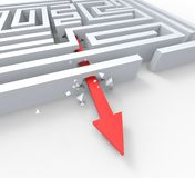 Break Out Of Maze Shows Overcome Puzzle Exit Stock Photo