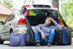 Break in packing stuff for trip Royalty Free Stock Image