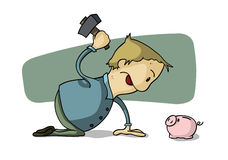 Break piggy bank. Credit Crunch - Raiding the Piggy Bank Stock Images