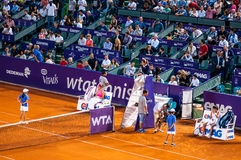 Break during the QF between halep and Arruabarrena at Bucharest Open WTA Stock Images