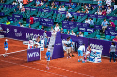 Break during the QF between Vinci and Cetkovska  at Bucharest Open WTA Stock Photo