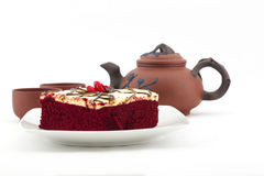 Break of quality tea and delicious red velvet cake Royalty Free Stock Photography
