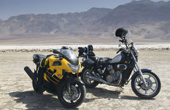 Break on a rally. Motorcycles in Death Valley National Park California Stock Photography