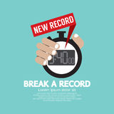 Break A Record Showing New Time Record On Stopwatch. Stock Photos