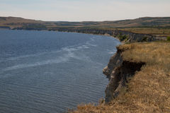Break into the river. Beautiful beach with a cliff in the river Volga Royalty Free Stock Image