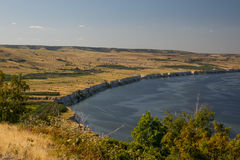 Break into the river. Beautiful beach with a cliff in the river Volga Stock Photo