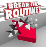 Break the Routine Arrow Through Maze Spontaneous Action Avoid Bo. Break the Routine 3d word in red letters over an arrow breaking through a maze wall to Royalty Free Stock Photo