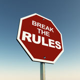Break rules. Break the rules words on a road sign against the blue sky stock illustration