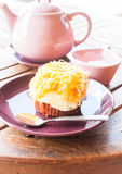 Break set of hot white tea and cup cake Royalty Free Stock Image