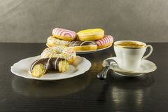 Break for something sweet and coffee. Break for something sweet or donut and hot coffee stock image