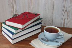 Break with tea and books stock image