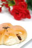 Break time. Bread, japaness green tea on white Royalty Free Stock Image