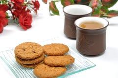 Break time. Macro cookies and chinese tea Stock Photo