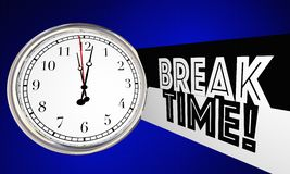 Break Time Clock Relax Stop Working. 3d Illustration Royalty Free Stock Photography