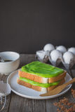 Break time, coffee time with pandan custard cream on toasted, ea Royalty Free Stock Photography
