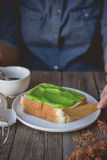 Break time, coffee time with pandan custard cream on toasted, ea Royalty Free Stock Images