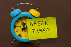 Break time concept with classic alarm clock Royalty Free Stock Image