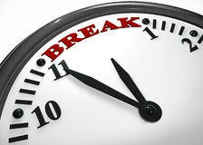 Break time hour. Using text in the clock represent break time Royalty Free Stock Images