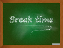 Break time. An illustration of a blackboard with the text Break time Royalty Free Stock Photos