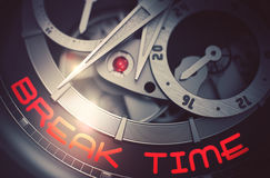 Break Time on the Mechanical Wrist Watch Mechanism. 3D. Stock Photo