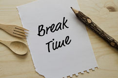 Break time message on white piece of paper Stock Photography