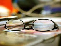 Break times glasses background blur Royalty Free Stock Photography