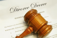 Break up. Legal gavel on top of divorce papers Royalty Free Stock Images