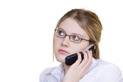 Break up. Young teen talking on a cell phone looking upset stock photography