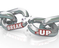 Break-Up Broken Links Chain Separation Divorce. Two metal chain links broken with the words Break-Up to represent a separation or divorce, or the ending of a Royalty Free Stock Photo
