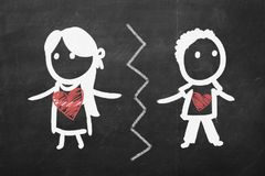 Break up concept. A girl and a boy sketch drawn on chalkboard.  royalty free stock photo
