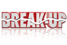 Break-Up 3d Words Divorce Separation Split Partnership. Break-Up broken words in red 3d letters to illustrate a divorce, separation or split partnership between Stock Photos