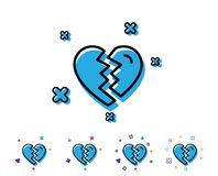 Break up Love line icon. Divorce sign. Valentines day symbol. Line icon with geometric elements. Bright colourful design. Vector Stock Illustration