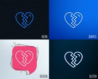 Break up Love line icon. Divorce sign. Glitch, Neon effect. Break up Love line icon. Divorce sign. Valentines day symbol. Trendy flat geometric designs. Vector Stock Image