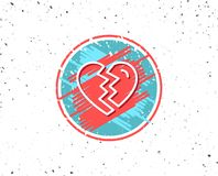 Break up Love line icon. Divorce sign. Grunge button with symbol. Break up Love line icon. Divorce sign. Valentines day symbol. Random background. Vector Stock Photos